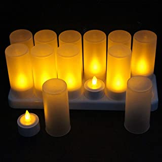 12pcs Rechargeable Flameless Candles + Frosted Cups + Charging Hub - LED Flickering Tea Lights - Batteries Included Electr...