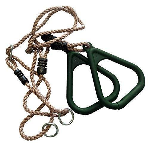 Loggyland Turnringe aus Kunststoff mit Seil ohne Trapez für Kinder als Erweiterung für Spielturm, Schaukel, Kletterturm, (grün)