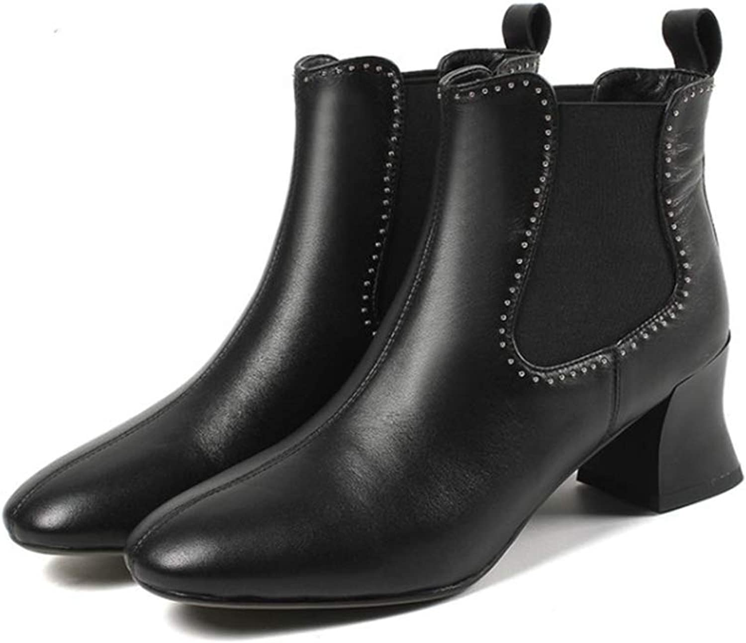 Ladies Booties, Thick Heel Mid Heel Genuine Leather Rivet Chelsea Boots Women's Short Tube Ankle Boots Martin Boots (color   A, Size   36)