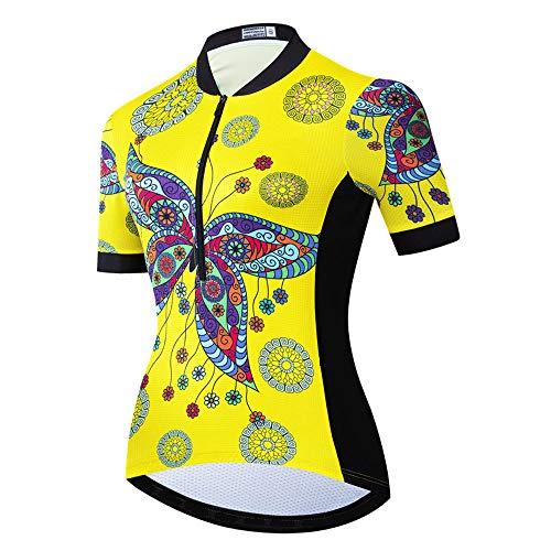 Maillot de Ciclismo antisudor para Mujer, Camisa de Ciclismo Transpirable de Secado rápido Tops elásticos para Mujer Jerseys de Bicicleta de Manga Corta Camisa de MTB de Verano