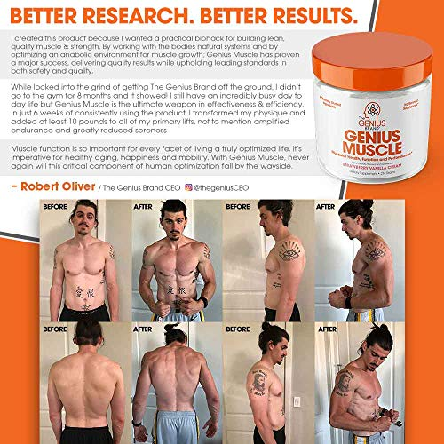 Genius Muscle Builder - Best Natural Anabolic Growth Optimizer for Men & Women | True Weight Gainer Workout Supplement for Steel Physique | Clear Plateaus & Gain Mass in 7 Days with HMB, PA & Peak02