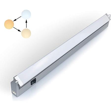 Réglette LED Orientable avec Interrupteur, Luminaire Sous Meuble Lumière Réglables pour Cuisine/Armoire/Placard/Escalier/Couloir 3000K 4000K 6000K (Long)