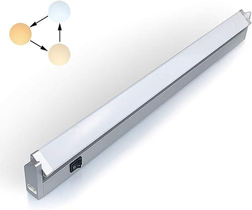 LED iluminacion bajo Mueble Giratoria con Tres Temperaturas de Color 3000 K/4000 K/6000 K Luz Cocina Estante Lavabo A...
