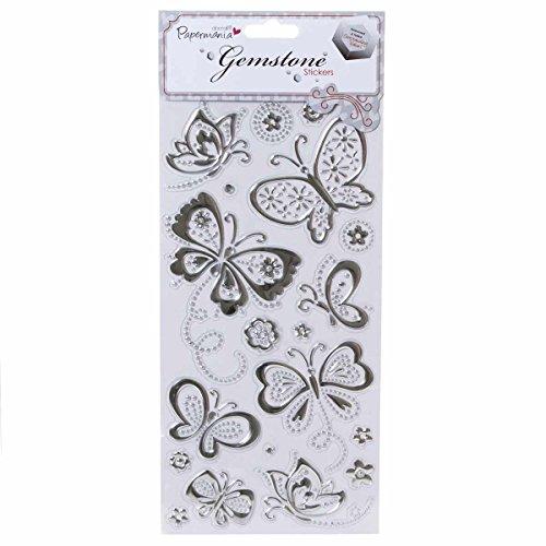 Papermania PMA8241107 Schmuckstein-Schmetterling-Aufkleber, Silber
