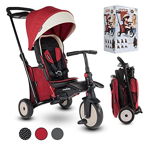 smarTrike STR5 Tricycle Pliable Enfant avec Certification Poussette pour 1,2,3 Ans - Tricycle à Plusieurs Étapes 7 en 1 (Rouge)