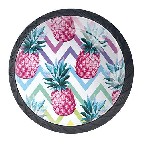 ananas en kleurrijke achtergrond lade knoppen Pull handgrepen 30MM 4 Stks glazen kast lade trekkers voor thuis keuken kast