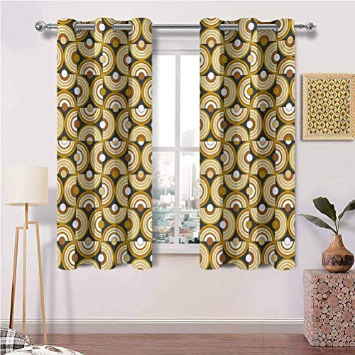 Blackout Curtains Panels for Window with Grommets Funky Abstract Motif Half Circular Inner Round Forms Spiral Hoops Artwork for Bedroom, Kitchen, and Living Room Set of 2 Panels (26 x 63 Inch)