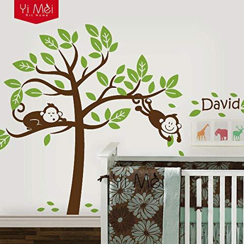 Muursticker gepersonaliseerde individuele naam monkeytree muursticker sticker kinderen kleuterschool kinderen familiedecoratie behang- groene bladeren cooldeer
