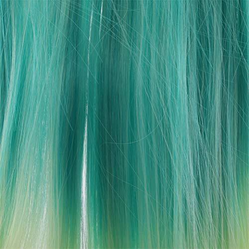 Perruques Longues et Droites Demi-tête Perruque Dégradé Naturel Charme Perruques Synthétique Postiche pour Femmes Filles,Vert dégradé