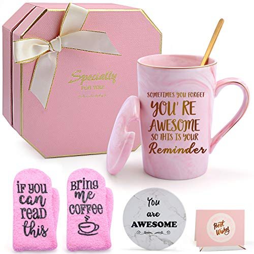 Thank you Gifts for Women, Puchod You're Awesome Mother's Day Appreciation Gifts for Friends Female Funny Birthday Graduation Gifts Ideal for Wife Sister Mom Her Coworker Pink Mug