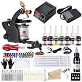 Solong Tatto Kit Full Tattoo Equipments 1 Tattoo Machine 7 Inks Fountain Feeding Pedal Needles Grips Tips For...