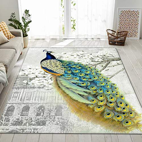 Alfombra De Pavo Real Azul, con Patrón De Animales En 3D, Alfombra Antideslizante para El Hogar, Adecuada para Sala De Estar Y Dormitorio En Casa 120 * 180cm
