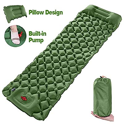 Wolf Walker Army Sleeping Pads for Camping, Built-in Pump Inflatable Sleeping Mat with Pillow, Compact Lightweight Hiking Air Mattress for Backpacking, Camping, Trekking
