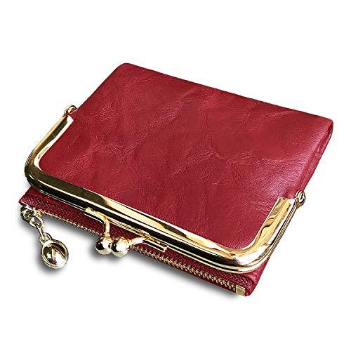Pofee Portafoglio da donna Rfid Piccolo e compatto Bifold in pelle Vintage Portafoglio, portamonete da donna con cerniera e blocco bacio - rosso - Small
