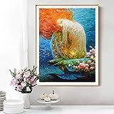 N / A Pintura sin Marco Decoración del hogar fantasía Retro Sirena Pintura al óleo Imagen Impresa en Lienzo decoración de la salaZGQ6683 60x75cm