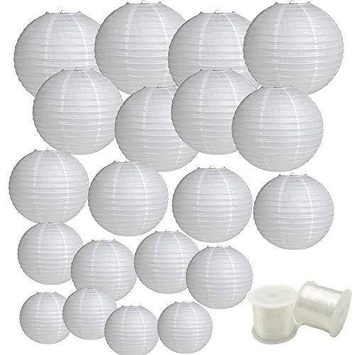 Aisamco - Paquete de 20 linternas de papel chinas, farolillos de papel colgantes, 4