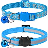 Taglory Reflective Cat Collar with Bell and Safety Release, 2-Pack Girl Boy Pet Kitten Collars Adjustable 19-32cm Sky Blue