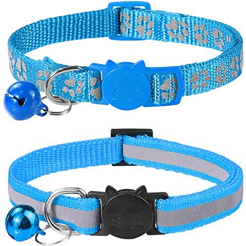 Taglory Reflektierend Katzenhalsband mit Sicherheitsverschluss und Glöckchen, 2-Stück Verstellbar Halsband Katze Kitten, 19-32cm Hellblau