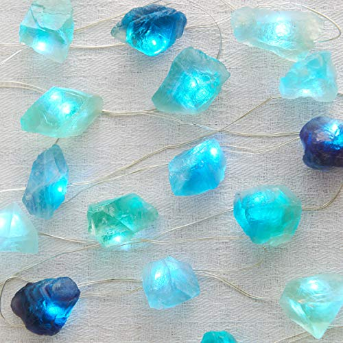 MIYA LIFE Natural Fluorite Crystal String Lights 6.5ft 20 LEDs USB & Battery Powered with Remote for Sea Glass Beach Theme Indoor Outdoor Tent Wedding Anniversary Birthday Decor Party