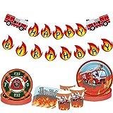 JeVenis 33 Piezas de Bomberos Banner de cumpleaños de Bomberos Suministros de cumpleaños Firetruck Platos de Fiesta y servilleta Bombero decoración