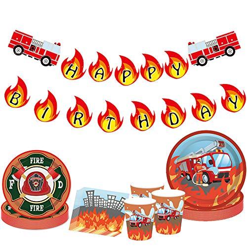 JeVenis - 33 pezzi per il compleanno del vigile del fuoco per camion dei pompieri, per feste di compleanno e per i vigili del fuoco, decorazione per feste di compleanno dei vigili del fuoco