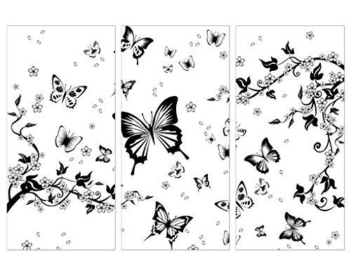 Cuadro en lienzo Flowers And Butterflies tríptico I, cuadros, cuadro lienzo, cuadro...