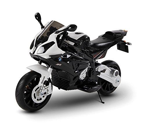 LT 832 Moto eléctrica para niños BMW asiento de cuero funcionamiento con llave (Blanco)