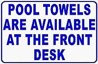 プールタオルはフロントデスクでご利用いただけます。金属スズサイン通知道路交通道路危険警告耐久性、防水性、防錆性