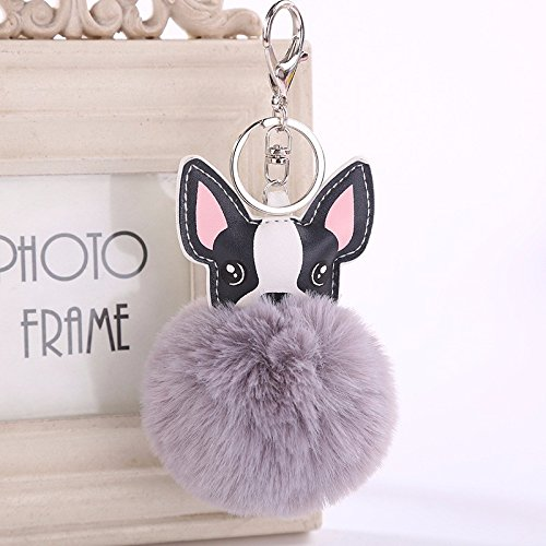 Janly Clearance Sale Womens Keychains, 8CM Cute Dog Keychain Pendant Women Key Ring Holder Pompoms Key Chains, Jewelry & Watches for Christmas Valentine's Day (Grey )