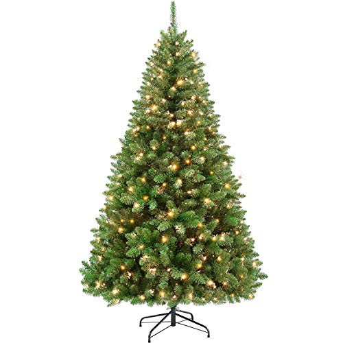 Hykolity 7.5 ft Prelit Christmas Tree, Artificial Christmas Tree with 400 Warm White Lights, 1400 Tips, Metal Stand and Hinged Branches