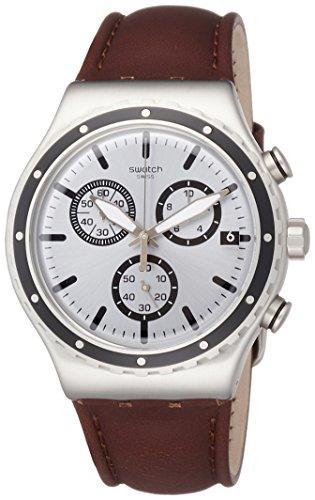 Swatch Reloj Cronógrafo para Hombre de Cuarzo con Correa en Cuero YVS437