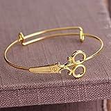 HJWMM Bracelet Réglable Ouvrable, Simple Européenne Et Américaine Mode Dames Ciseaux Style Bracelet Bijoux,Gold