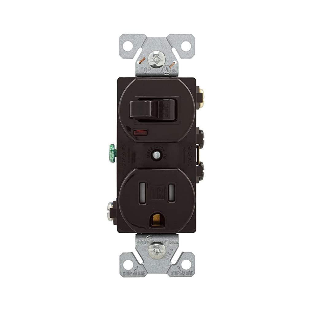EATON TR274B Arrow Hart Tr274 Duplex Combination Switch/Receptacle, 2 P, 3 Wire, 15 A, 120 V