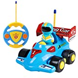SGILE RC Remote Control Cartoon Race Tractor Car with Music Light for Toddlers Baby, Blue