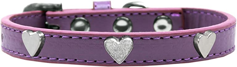 Mirage Pet Products Silver Heart Widget Dog Collar Lavender Size 12