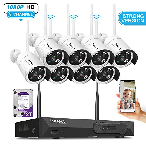 [Newest Strong Version WiFi] Wireless Security Camera System, ISOTECT 8CH Full HD 1080P Video Security System, 8pcs Outdoor/Indoor IP Security Cameras, 65ft Night Vision and Easy Remote View, 2TB HDD