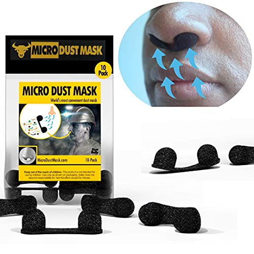 Micro Dust Mask Anti-Dust Nose Protection - Personal Protective Facemask Added Protection - Dustproof Breathable Filters for Woodworking, Sanding Protection & Construction - Black (10 Pack)