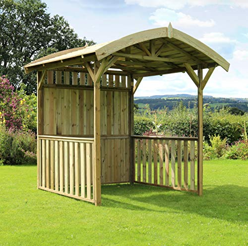 Bow Top Garden Outdoor Wooden Gazebo, BBQ shelter, Pavilion, Hot Tub, Pergola in Pressure Treated Solid Wood - 10 year warranty against Rot