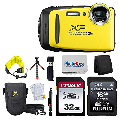"Fujifilm FinePix XP140 Digital Camera (Yellow) + 48GB SD Card + Floating Strap + Cleaning System + 12"" Flexible Tripod + Screen Protectors + SD Card Reader + Memory Card Wallet + Camera Case"