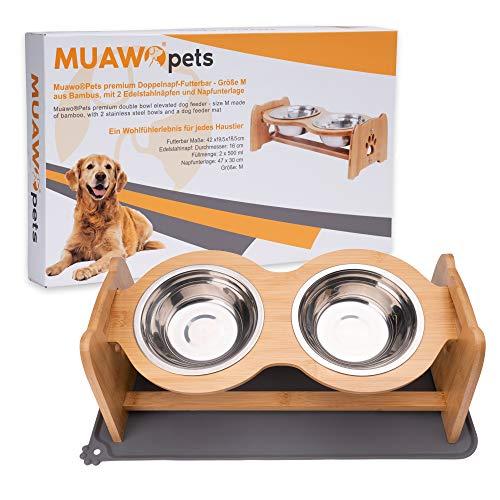 Muawo Premium Hundenapf oder Katzennapf höhenverstellbar mit Napfunterlage, 500ml pro Futternapf, Perfekter Fressnapf für Hund und Katze, Näpfe mit Futterstation aus Bambus + rutschfeste Unterlage