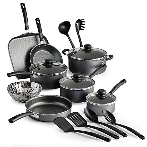 18 Piece Tramontina Primaware best nonstick cookware Set, Steel Gray