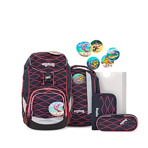 ergobag Pack-set Zaino Unisex Bambini, Unisex - Bambini, Zaino, ERG-SET-001-9Y2, Corallo (Coral Waves), 20 Largo