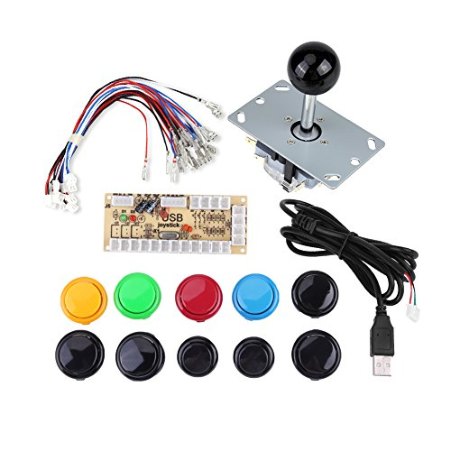 Arcade Gaming Kits, Winner Arcade Gaming DIY-onderdelen 10 DIY Arcade Game-knoppen + 1 joysticks + 1 Zero Delay USB Encoder Kit Ondersteuning Arcade PC Game DIY Project