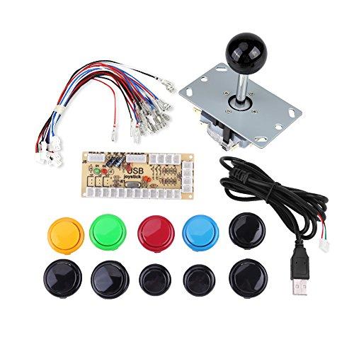 アーケードゲームボタンキット ゼロディレイアーケードゲーム DIYキットパーツ 10ボタン+ジョイスティック+ USBエンコーダ用 MAME PC