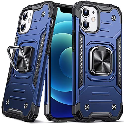 DASFOND Armor Hülle für iPhone 12 Mini Case Militärische Stoßfeste Handyhülle [Upgrade 2.0] Cover 360 ° Ständer mit Auto Magnet, Blau