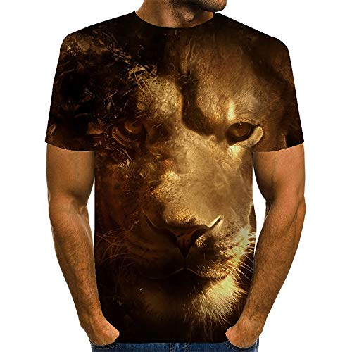 XKDZT Mode Hommes Chemise Animal Lion 3D Imprimer T-Shirt Femmes Streetwear Manches Courtes Col Rond Tops-XL