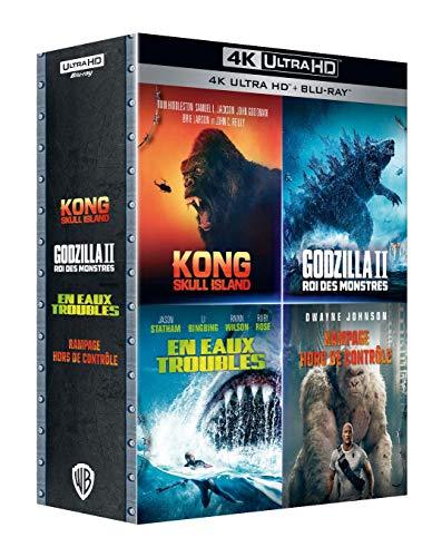Coffret : Godzilla : Roi des Monstres + Kong : Skull Island + Rampage-Hors de contrôle + en eaux Troubles [4K Ultra HD + Blu-Ray]