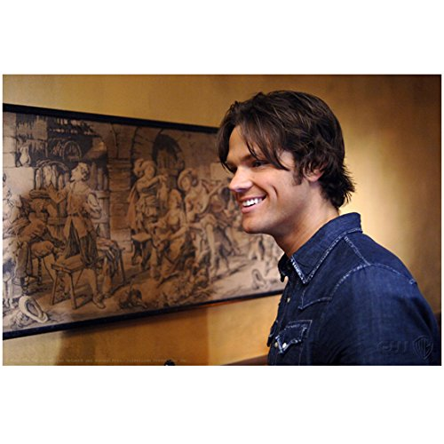 Supernatural Jared Padalecki as Sam Winchester Smiling Next to Painting 8 x 10 Photo
