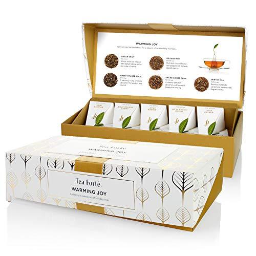 Tea Forte Petite Presentation Box Tea Samplers, Assorted Variety Tea Box, 10 Handcrafted Pyramid Tea Infusers (Warming Joy - White/Gold)