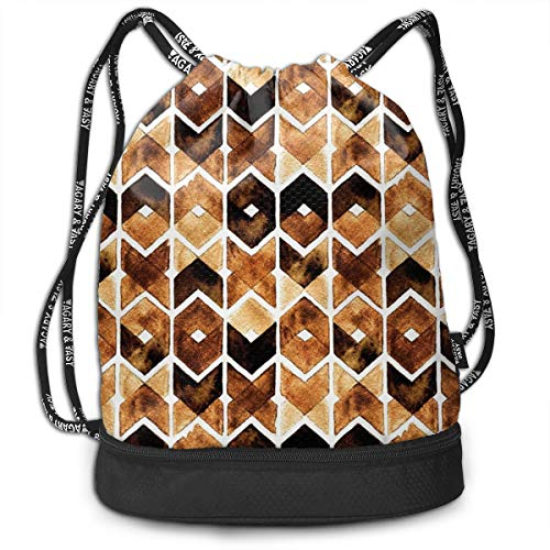 DPASIi Mochilas con cordón, diseño geométrico Chevron en colores café oscuro, tribal, cierre de cuerda ajustable